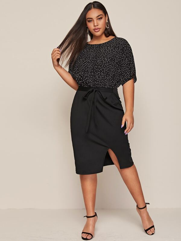 Plus Size Polka Dot Slit Hem Belted 2 In 1 Dress