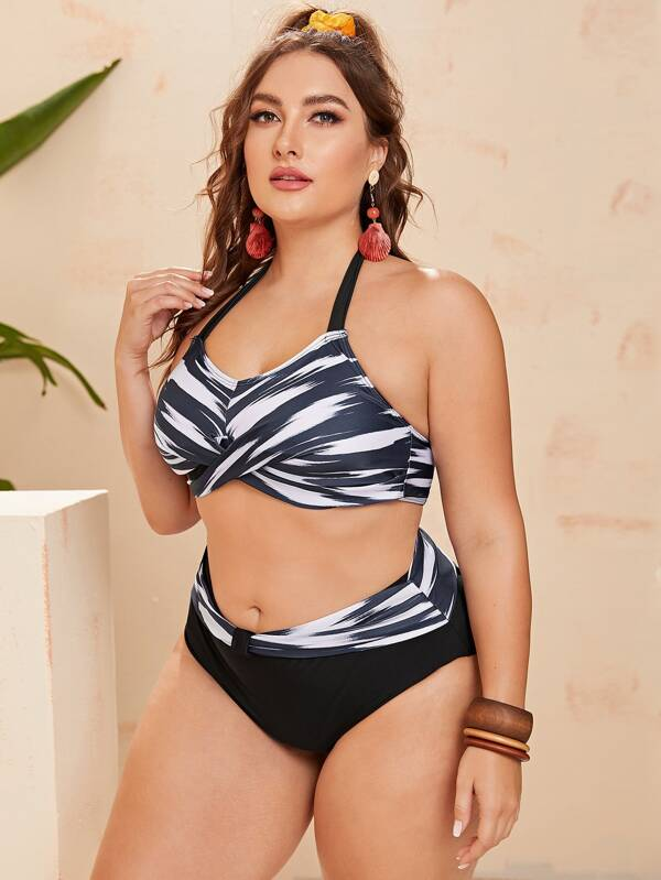 Plus Brush Print Twist High Waisted Bikini Swimsuit