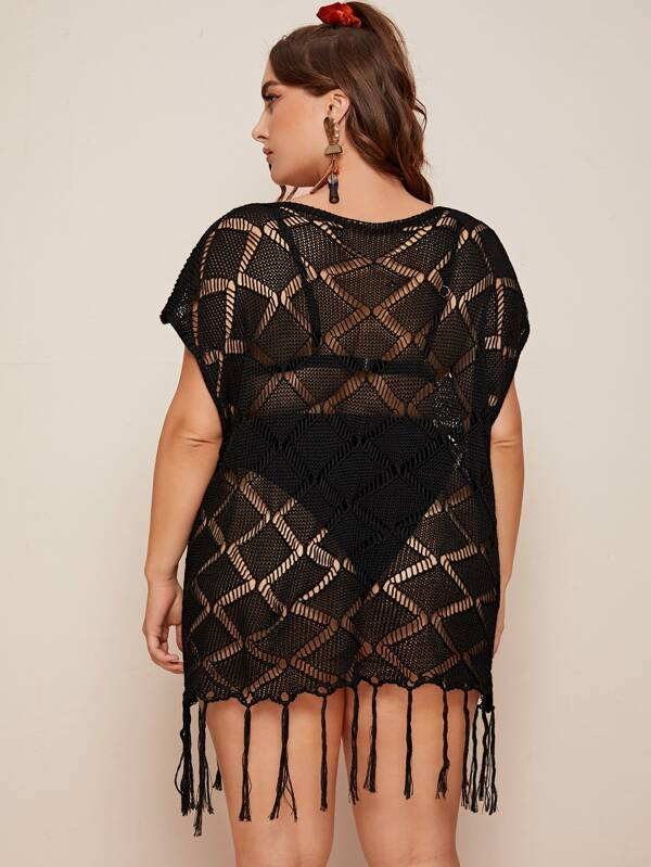 Plus Size Crochet Fringe Hem Sheer Cover Up
