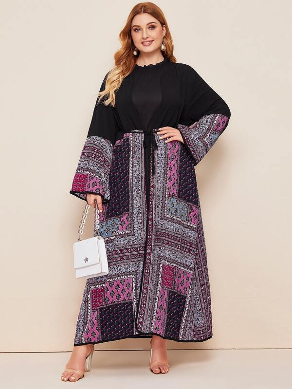 Plus Size Scarf Print Open Front Belted Kimono