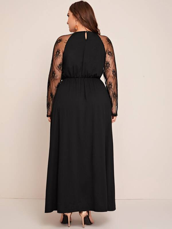 Plus Size Embroidered Mesh Panel Keyhole Back Maxi Dress