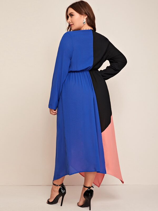 Plus Size Cut And Sew Hanky Hem Chiffon Dress