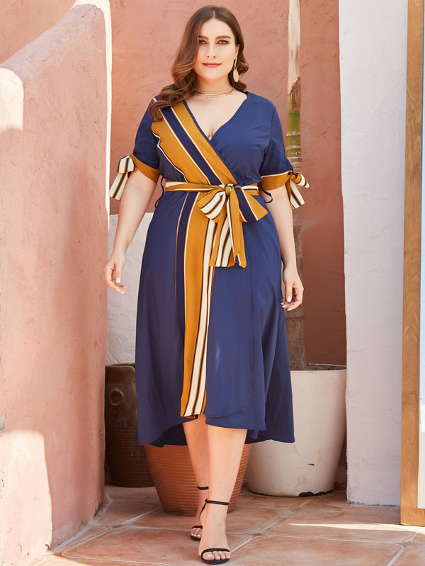 Plus Size Striped Knot Cuff Self Tie Wrap Dress
