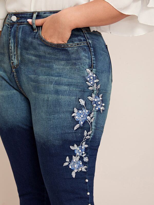 Plus Size Embroidery Floral Pearls Beaded Skinny Jeans