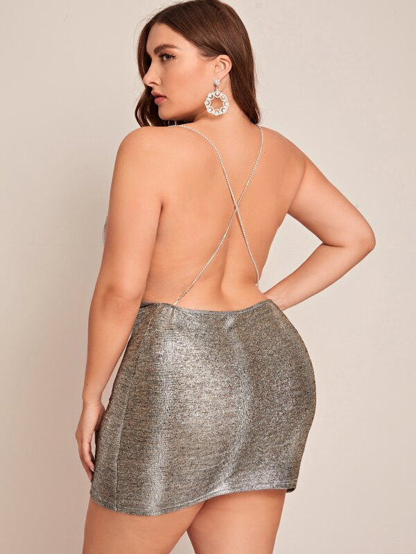 Plus Size Open Back Draped Night Dress