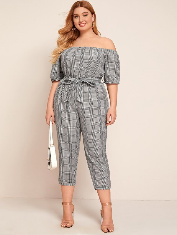 Plus Size Self Tie Plaid Bardot Jumpsuit