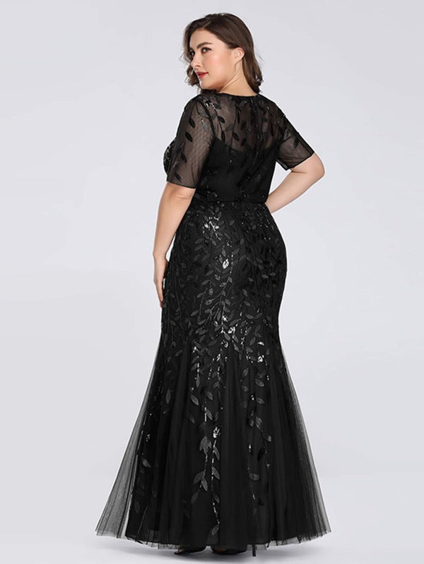 Plus Size Leaves Embroidery Mesh Overlay Mermaid Floor Dress