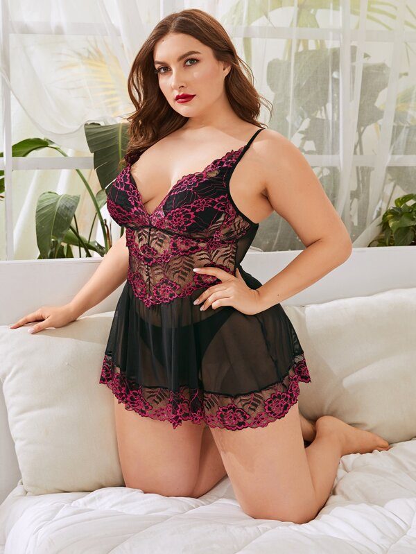 Plus Size Floral Lace Mesh Slips With Thong
