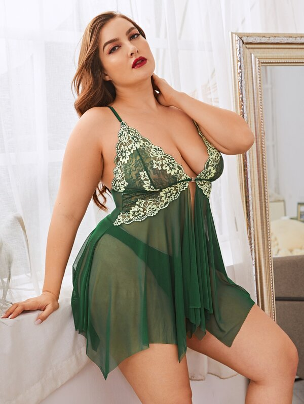 Plus size Contrast Lace Mesh Slips With Thong