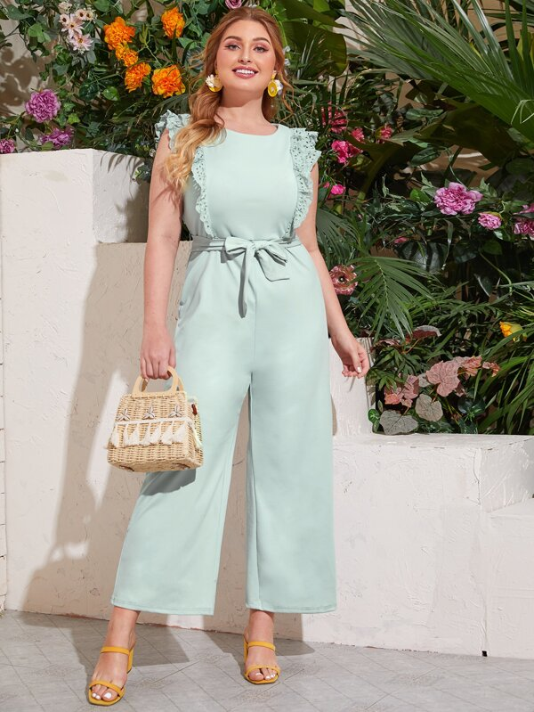 Plus Size Ruffle Trim Belted Jumpsuit