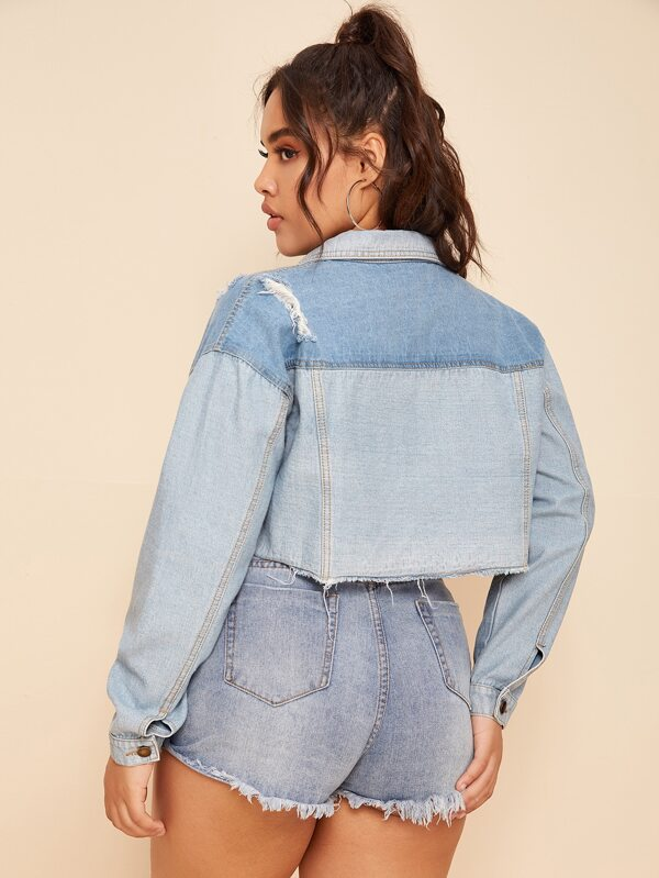 Plus Size Ripped Crop Denim Jacket