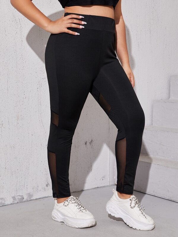 Plus Size Solid Mesh Insert Leggings