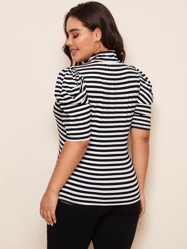 Plus Size Tie Neck Puff Sleeve Striped Top