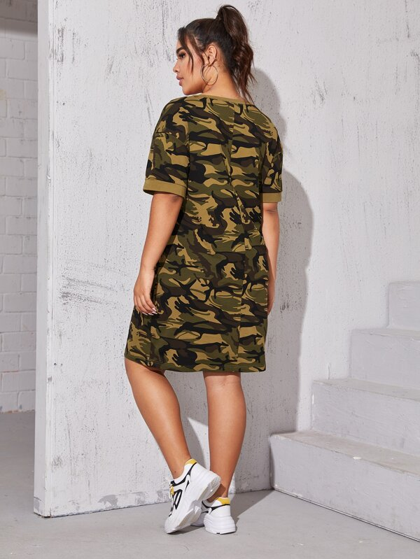 Plus Size Camo Print Tee Dress