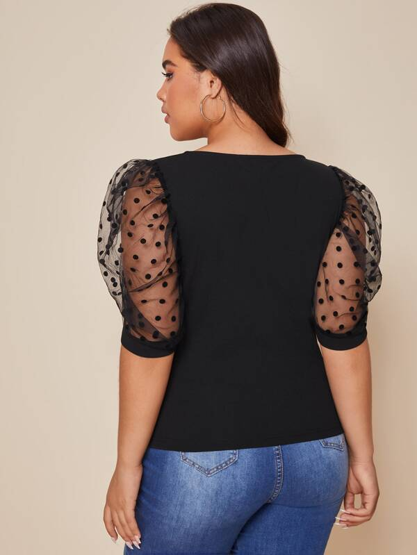 Plus Size Dot Flocked Mesh Puff Sleeve Solid Top