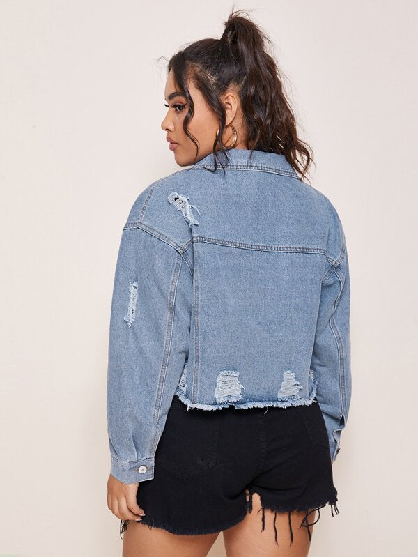 Plus Size Ripped Raw Hem Crop Denim Jacket