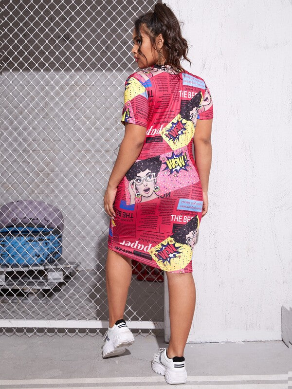 Plus Size Mock-neck Pop Art Print Dress