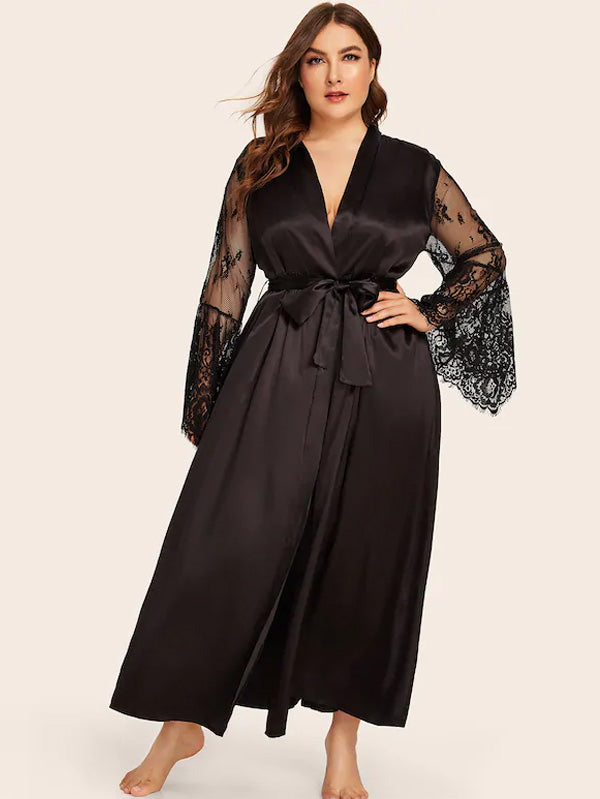 Plus Size Contrast Lace Satin Robe Dress