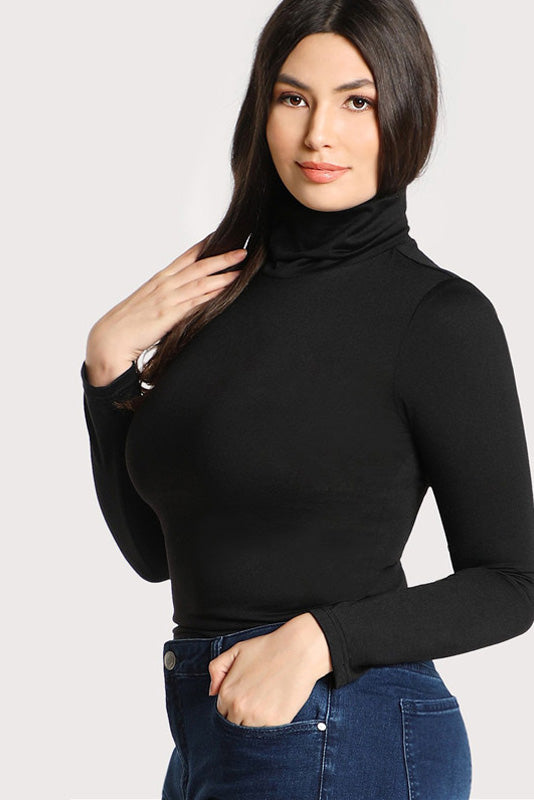 Plus Size Chic Long Sleeve Knit Turtle Neck Top
