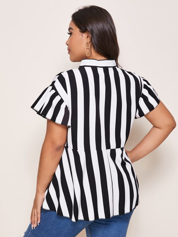 Plus Size Striped Tie Neck Peplum Blouse