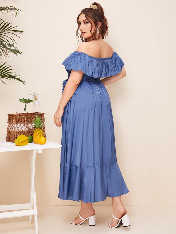 Plus Size Tulip Hem Belted Bardot Denim Dress