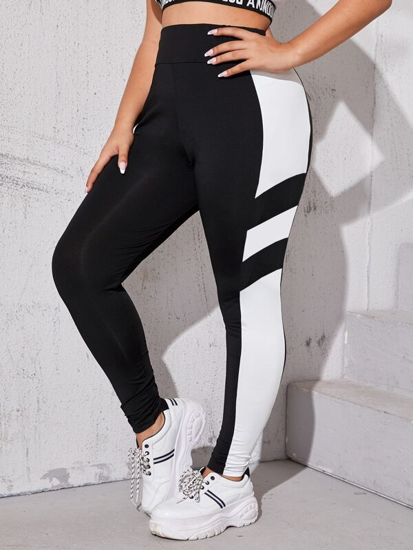 Plus Size Colorblock Elastic Waist Leggings