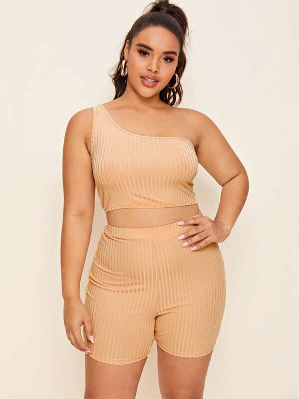 Plus Size One Shoulder Rib-knit Crop Top With Biker Shorts