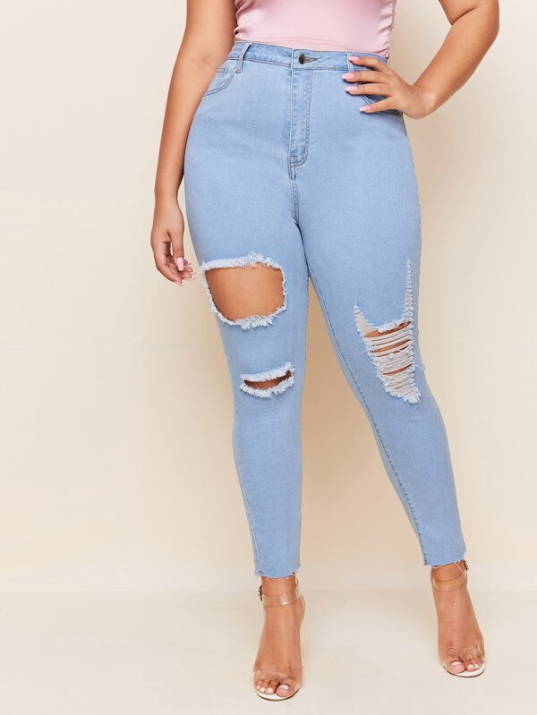Plus Size Destroyed Ripped Detail Skinny Jeans