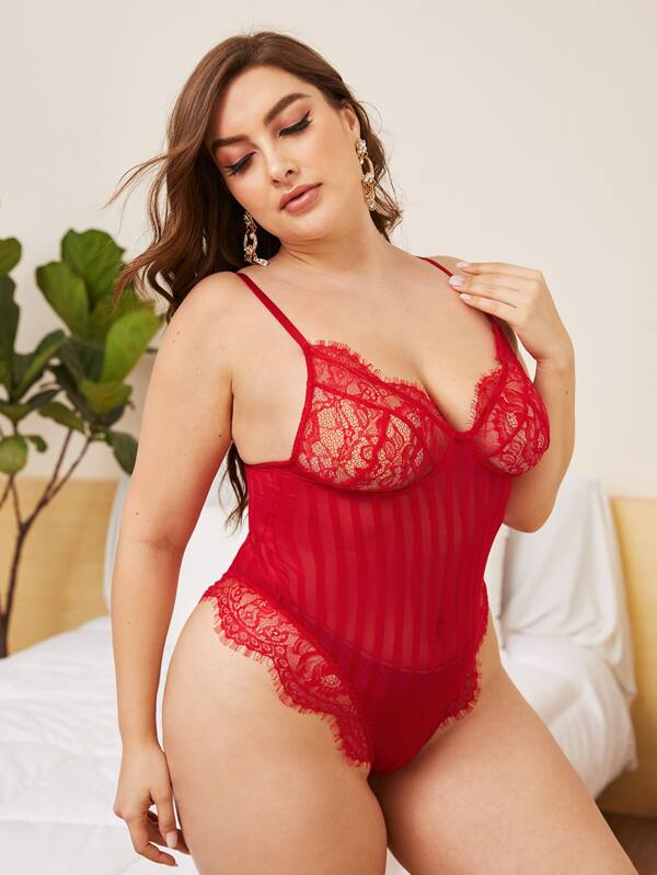 Plus Size Contrast Lace Striped Mesh Teddy Bodysuit