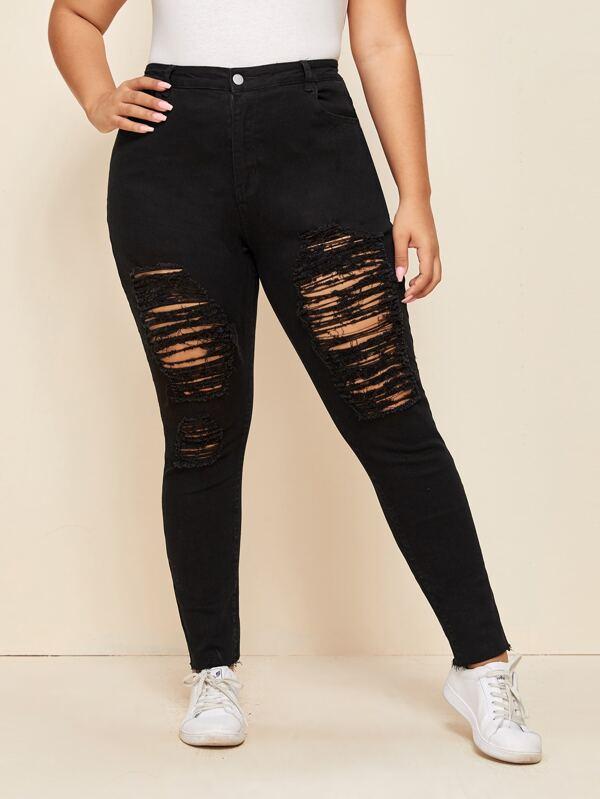 Plus Size Ladder Distressed Raw Hem Skinny Jeans