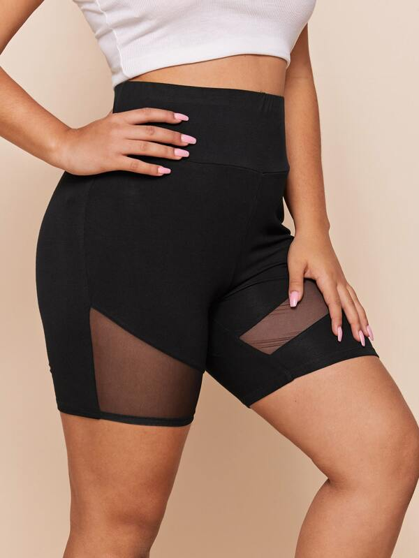 Plus Size Wide Waistband Mesh Insert Biker Shorts