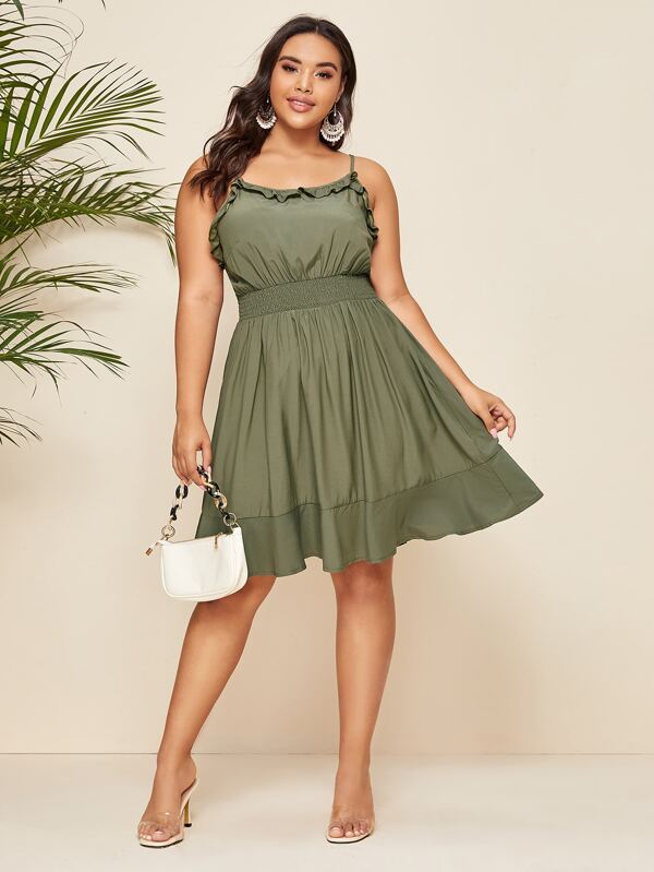 Plus Size Frill Trim Shirred Waist Ruffle Hem Cami Dress