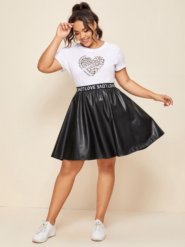 Plus Size Letter Tape PU Leather Flared Skirt