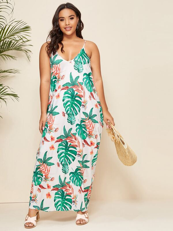 Plus Size Tropical Print Cami Dress