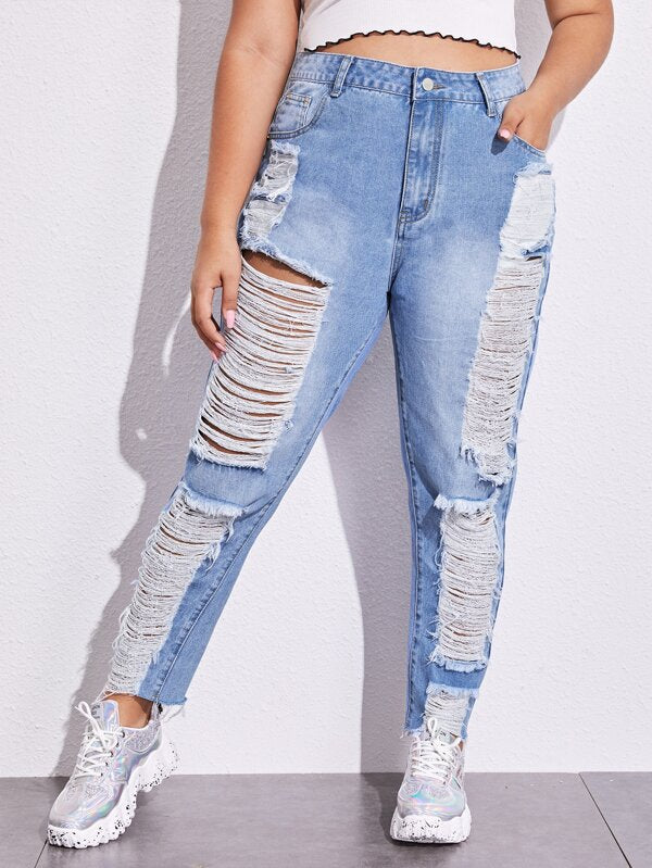 Plus Size Bleach Wash Ripped Raw Hem Jeans