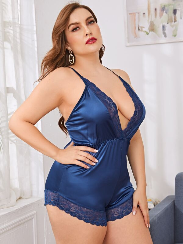 Plus Size Lace Trim Satin Romper Bodysuit