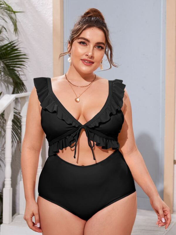 Plus Size Cut-out Front Ruffle Trim One Piece Swimsuit