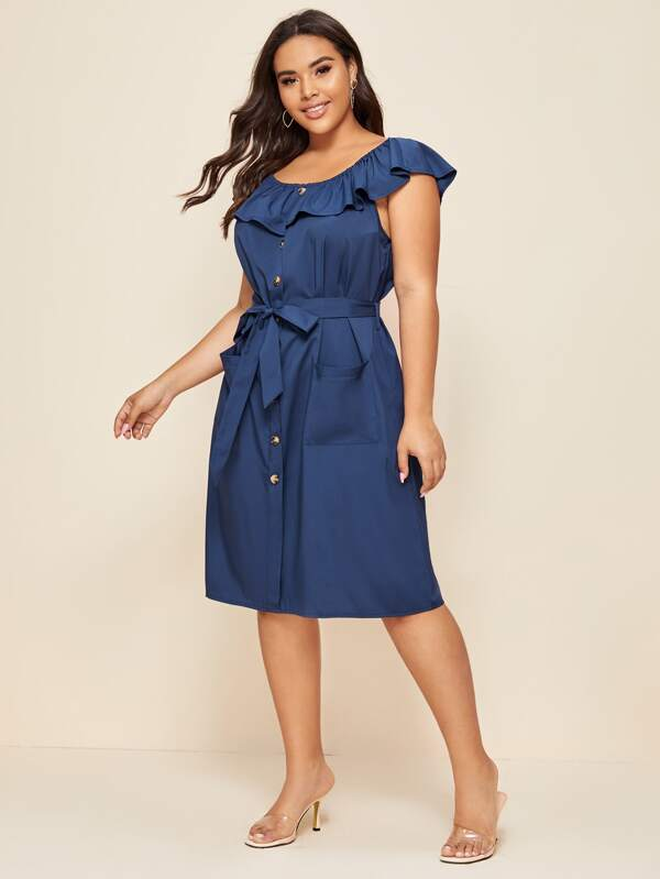 Plus Size Button Front Ruffle Trim Belted Dress
