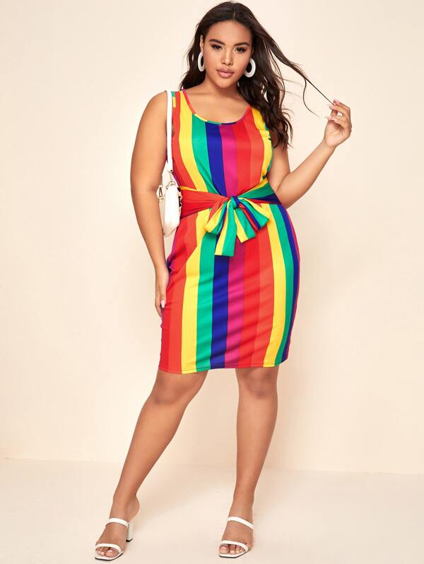 Plus Size Rainbow Striped Tie Front Fitted Dress