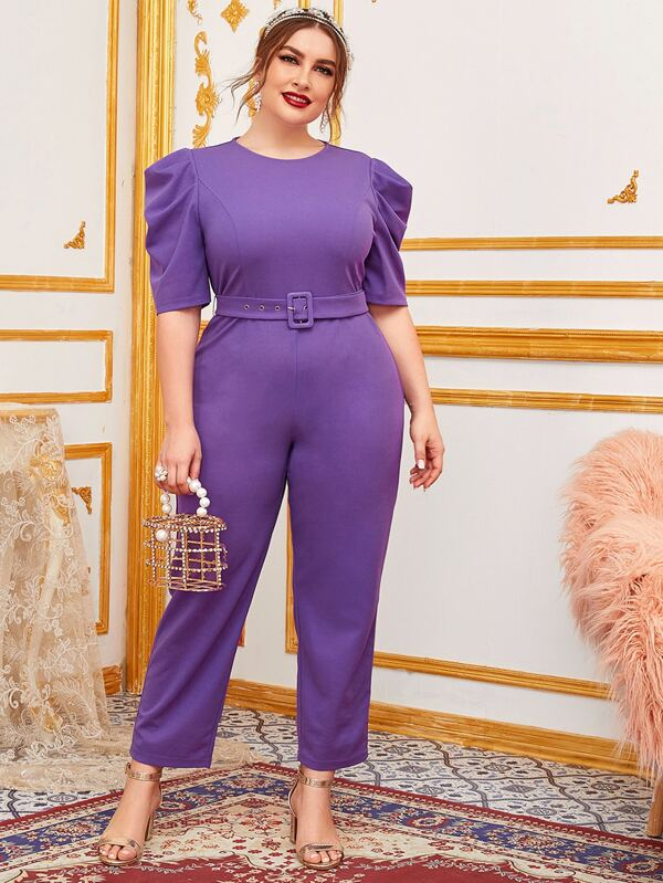 Plus Size Puff Sleeve Buckle Belted Jumpsuit
