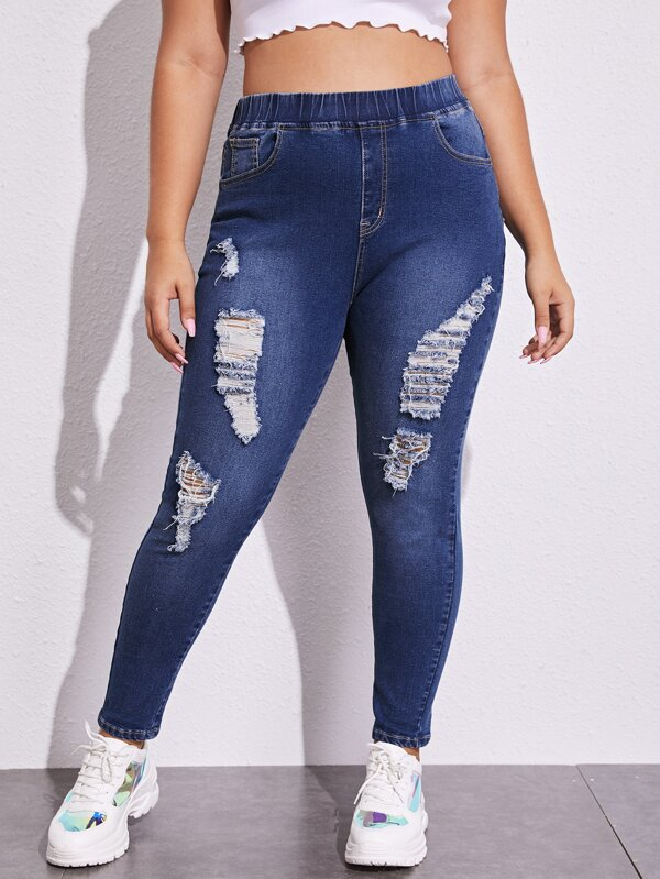 Plus Size Ripped Elastic Waist Skinny Jeans