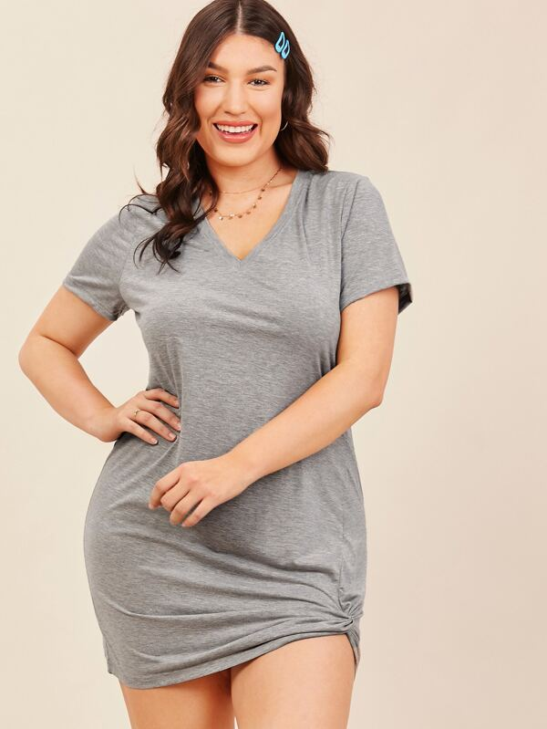 Plus Size Twist Hem Marled Knit Dress