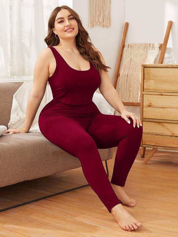Plus Size Scoop Neck Solid PJ Set