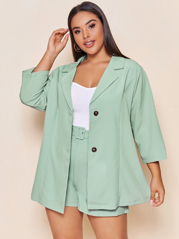Plus Size Single Breasted Blazer With Belted Shorts