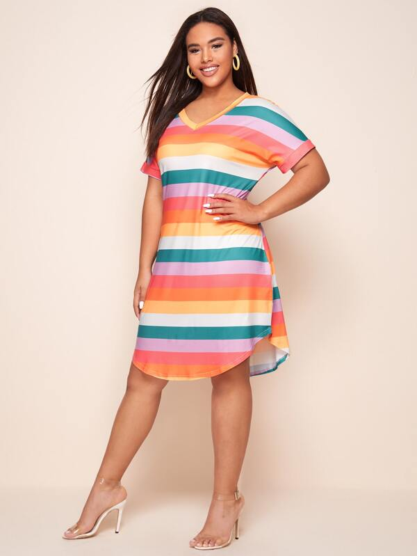 Plus Size V-neck Rainbow Stripe Tee Dress