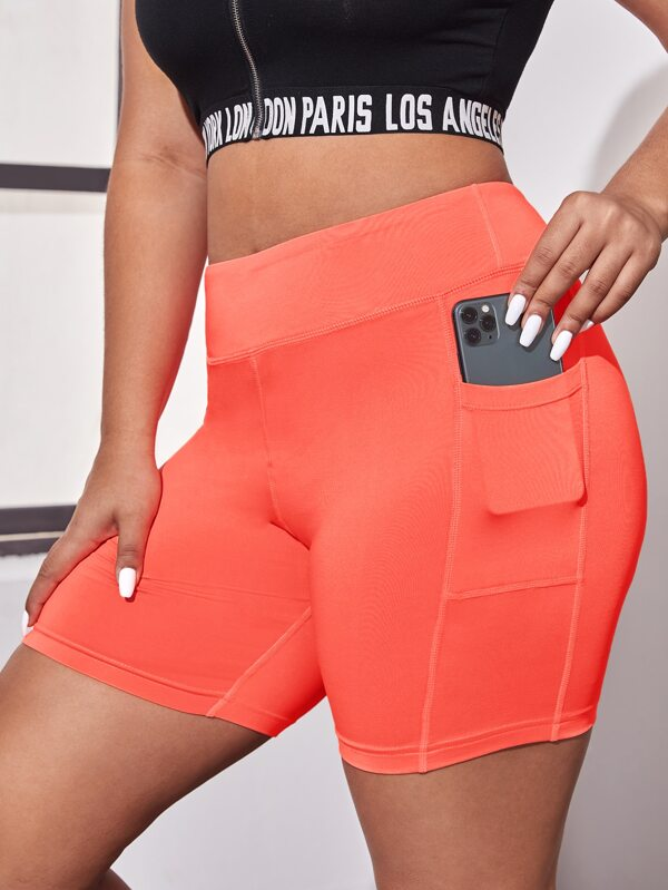 Plus Size Solid Biker Shorts With Phone Pocket