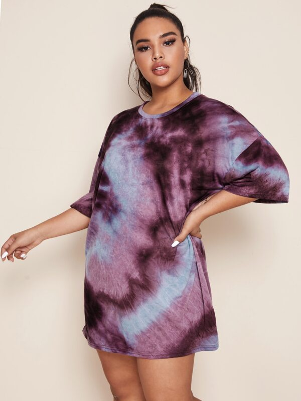 Plus Size Tie Dye Drop Shoulder Oversized Top Without Belted
