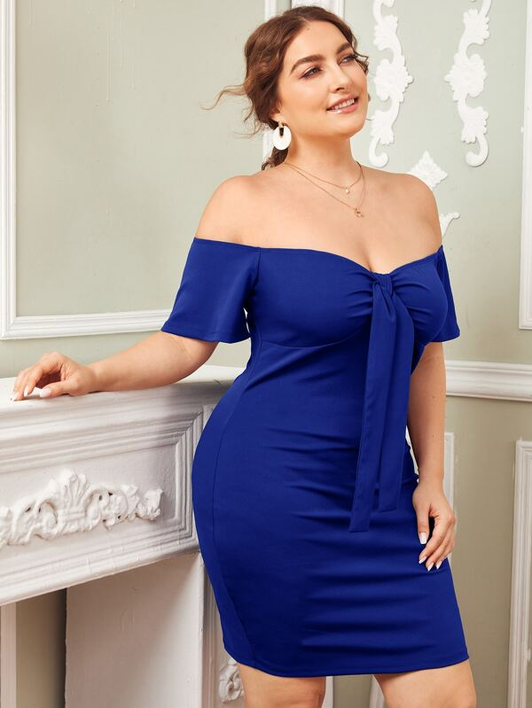 Plus Size Off Shoulder Knot Front Dress