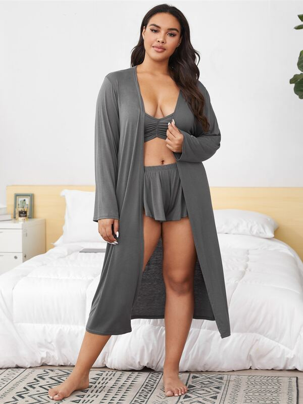 Plus Size 3pack Ruched Ruffle Lingerie Set With Robe