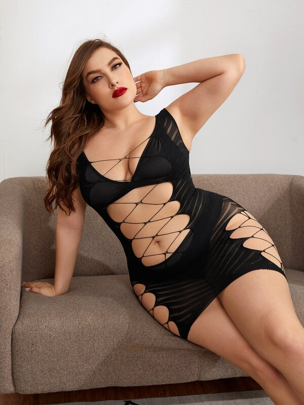 Plus Size Cut-out Sheer Bodycon Dress